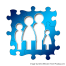 a blue puzzle piece showing an outline of a family - mum, dad, daughter, son | source: pixabay.com