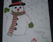 "A waving snowman with a snowy background and candy canes in front, plus the words ""Merry Christmas"" and ""Happy new year"""