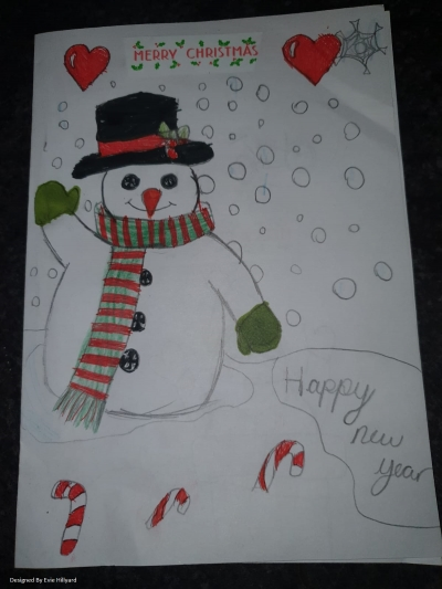A waving snowman with a snowy background and candy canes in front, plus the words