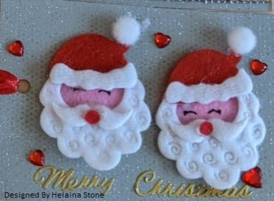 3D design with two Santa heads and the words