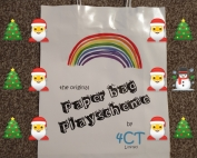 photo of 4CT's original Paperbag Playscheme, overlayed with Christmas tree and Santa emojis