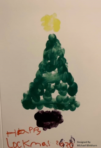 A finger-painted Christmas tree plus the words