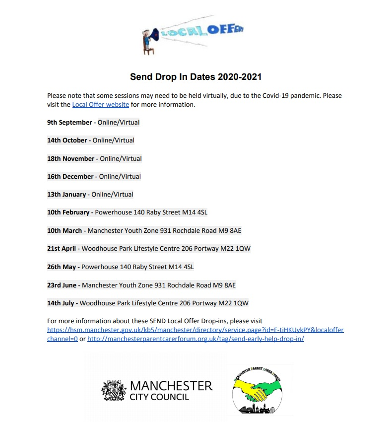 Flyer for the 2020/2021 SEND Early Help Coffee Mornings across Manchester