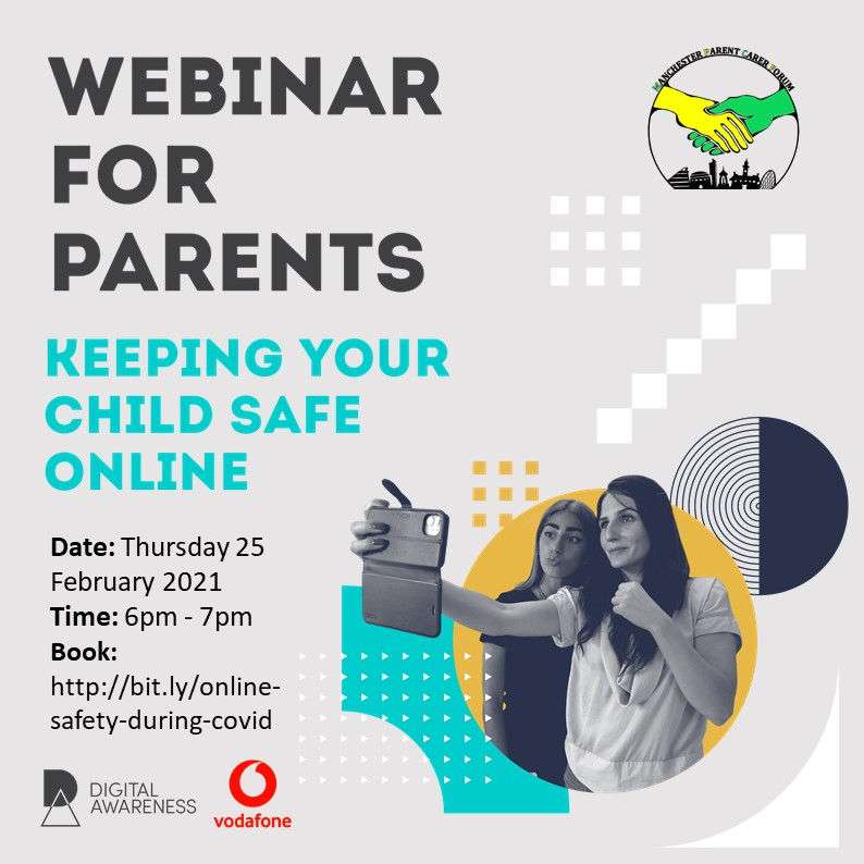 """Social media image for the """"Keeping Children Safe Online During Covid19"""" webinar for Parents & Carers, with details of the event in text, a photo of 2 girls taking a selfie, and the logos of MPCF, course providers Digital Awareness UK, and their sponsor Vodafone"""