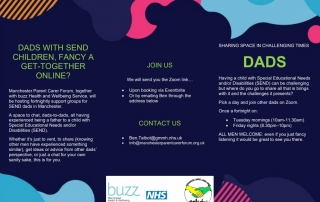 Details of the Dads Support Group with a colourful camouflage-style background and the buzz, NHS and MPCF logos at the bottom