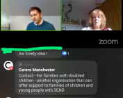 This screenshot of the live Facebook chat with Carers Manchester shows Will (Carers Manchester) and Cath (MPCF) at the top, with the comments section at the bottom mentioning the charity, Contact, and a background story about Cath.