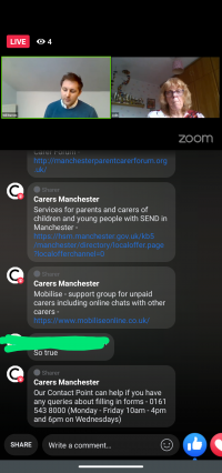This screenshot of the live Facebook chat with Carers Manchester shows Will (Carers Manchester) and Cath (MPCF) at the top, with the comments section at the bottom mentioning the SEND Local Offer, Mobilise support group and info about Carers Manchester's Contact Point.