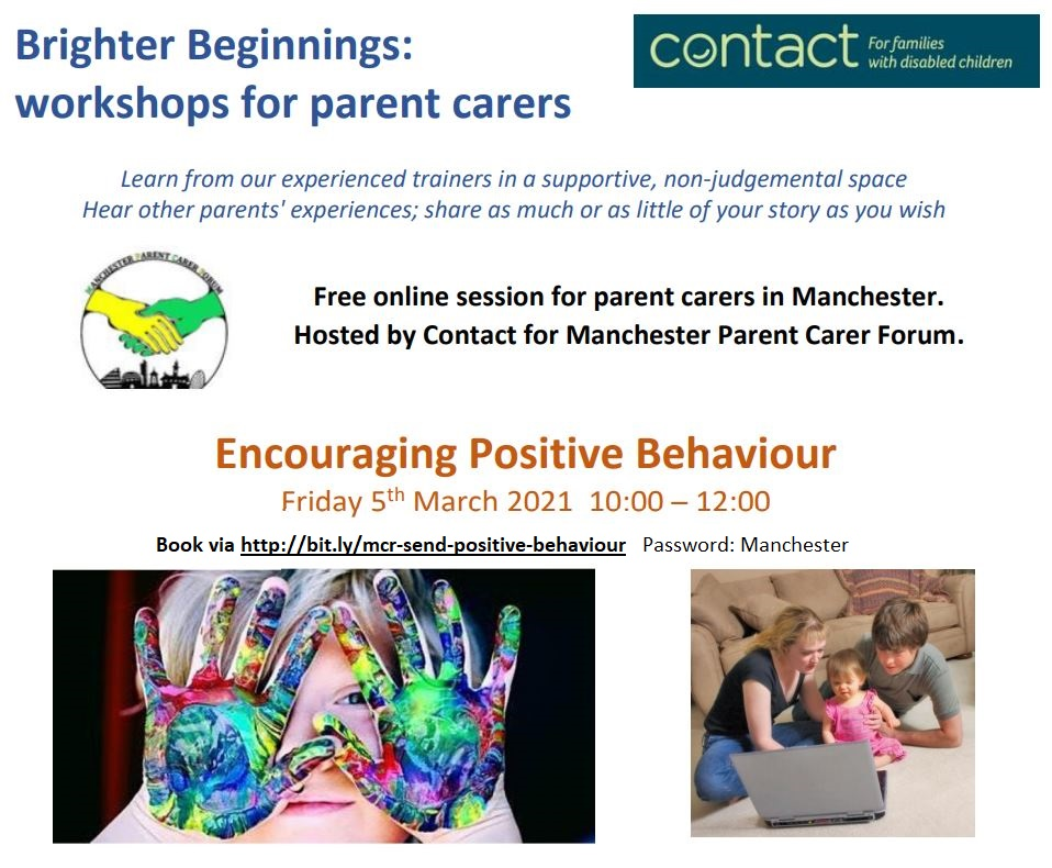 The top shows Contact's and MPCF's logos, plus details of the workshop. The bottom shows a child with painted hands (left) and a family looking at a laptop (right).