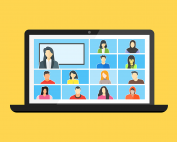 An illustration of a virtual meeting on a laptop, with yellow background | photo credit: Joseph Mucira via Pixabay.com