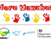 """The top row says """"Explore Manchester"""" using fancy red font, followed by a colourful row of hand prints. The bottom row shows the MPCF, 4CT, Local Offer and DfE logos, respectively."""
