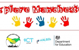 "The top row says ""Explore Manchester"" using fancy red font, followed by a colourful row of hand prints. The bottom row shows the MPCF, 4CT, Local Offer and DfE logos, respectively."