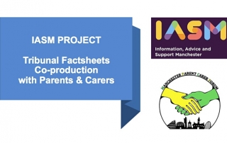 Description of IASM's tribunal factsheets initiative on the left; logos of IASM and MPCF on the right