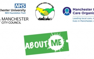 the About Me logo with the logos of Manchester University NHS Foundation Trust, Manchester City Council, Manchester Parent Carer Forum, and Manchester Local Care Organisation above it
