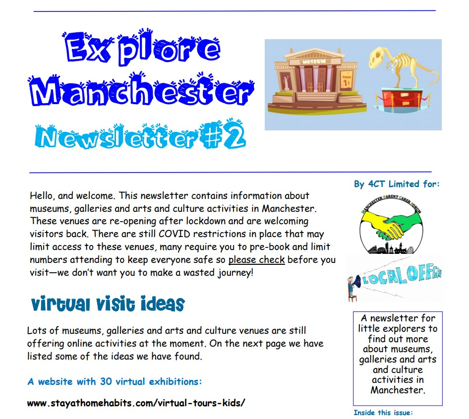 screenshot of page 1 of the 2nd Explore Manchester newsletter