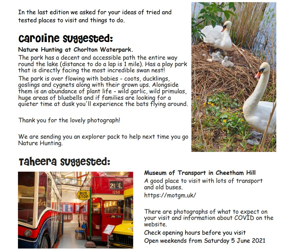 screenshot of page 2 of the 2nd Explore Manchester newsletter, which shows some suggestions from families: Chorlton Waterpark and Museum of Transport