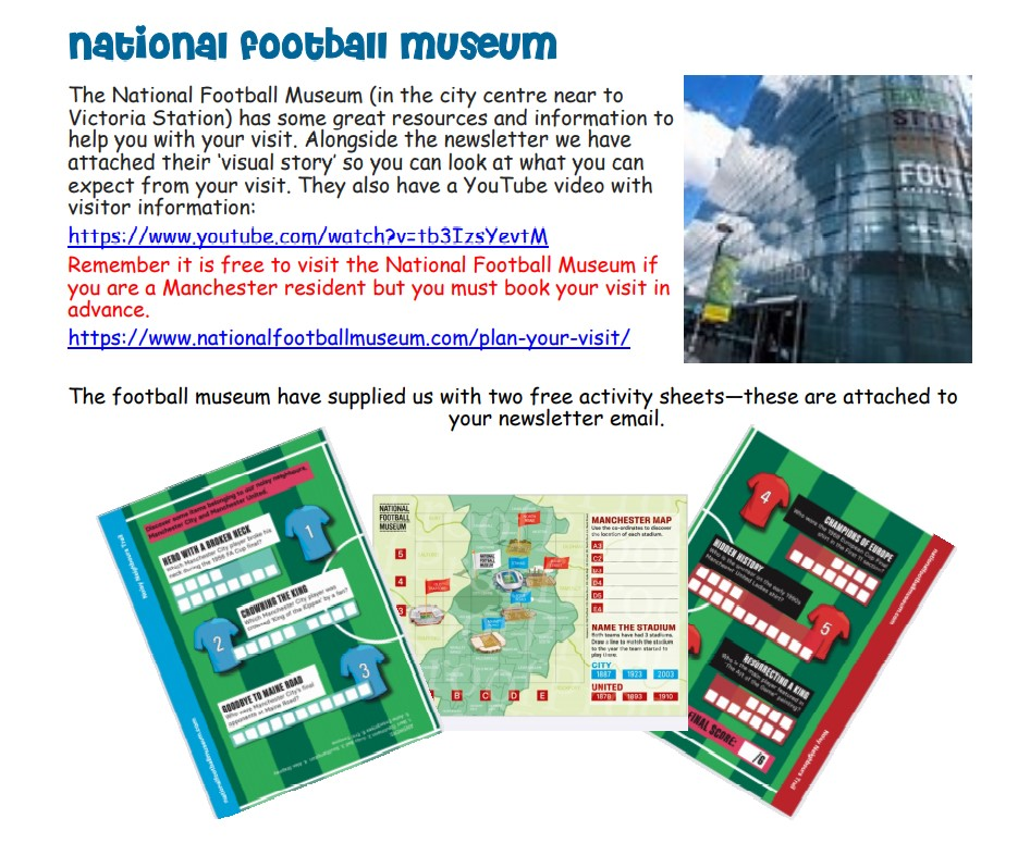 screenshot of page 3 of the 2nd Explore Manchester newsletter, which highlights the National Football Museum
