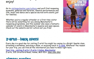 """screenshot of page 4 of the 2nd Explore Manchester newsletter, headlined by the """"Culture is back"""" announcement"""