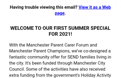 """Screenshot of the top section of the SEND Local Offer newsletter's """"Summer Special"""". It shows the usual Local Offer header, a short paragraph describing the newsletter's contents, and the Local Offer team's contact information."""