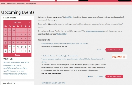 Screenshot of the SEND Local Offer's Whats On page. Results include Home Arts Centre, Twinkleboost and Simply Cycling.