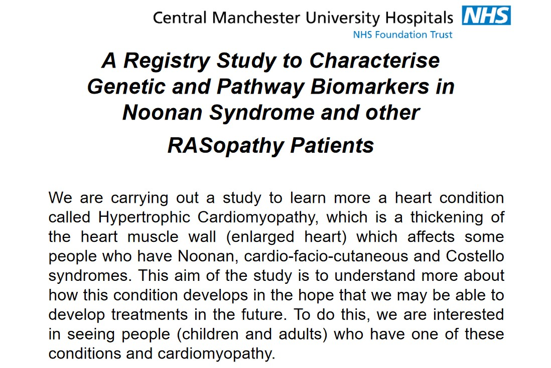 """Screenshot of the """"Registry Study to Characterise Genetic and Pathway Biomarkers in Noonan Syndrome and Other RASopathy Patients"""" flyer"""