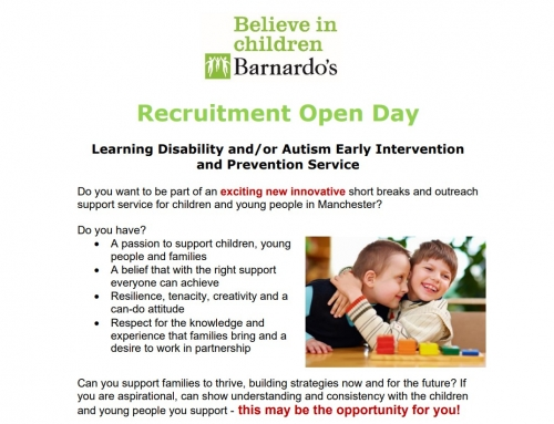 Barnardo's Recruitment Open Day : Learning Disability and/or Autism Early Intervention  and Prevention Service
