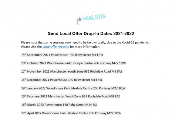 List of SEND Local Offer drop-ins in 2021-2022