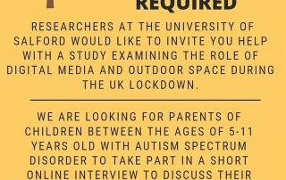 An invitation to get involved in a University of Salford study around autistic experiences of the Covid Lockdown in 2020